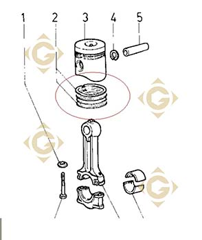 Pièces détachées Série Segment 3 Gorges std 8211071 Pour Moteurs Lombardini, de marque Lombardini
