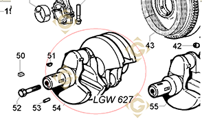 Spare parts Conical Cranckshaft 1051109 For Engines LOMBARDINI, by marks LOMBARDINI
