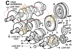 Spare parts Conical Cranckshaft 1051111 For Engines LOMBARDINI, by marks LOMBARDINI