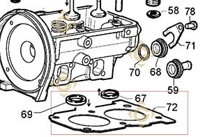 Spare parts Head Gasket 1,63 4730879 For Engines LOMBARDINI, by marks LOMBARDINI